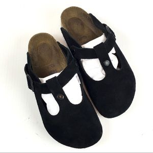 Birkenstock Boston Black Suede Leather